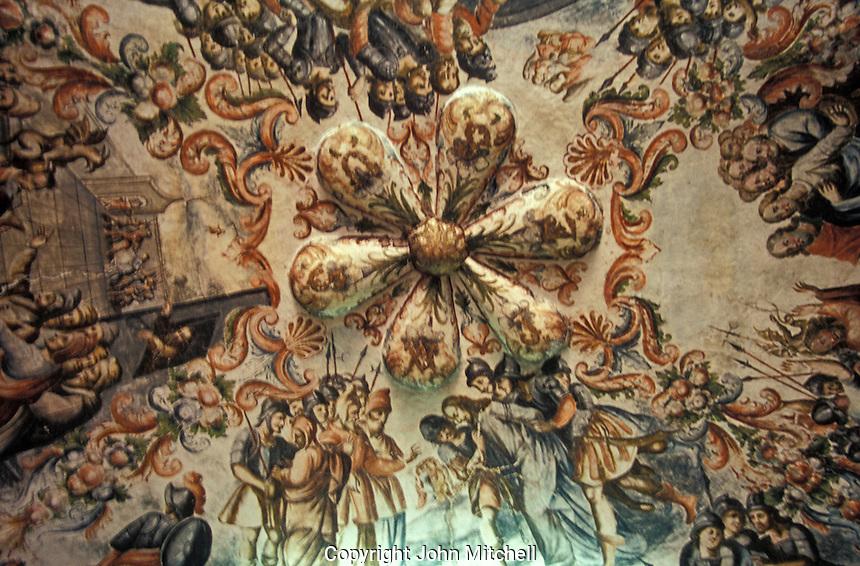 Mural on the ceiling inside the Santuario de Atotonilco near San Miguel de Allende in the state of Guanajuato, Mexico. Atotonilco is a UNESCO World Heritage Site.