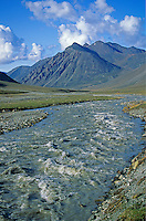 Jago River flows through an arctic valley in the Romanzof Mountains part of the Brooks Range in the Arctic National Wildlife Refuge, Alaska, AGPix_0718.