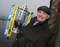 Forfar manager Dick Campbell gets his hands on the Scottish Cup ahead of their game against Falkirk.