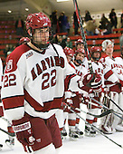 David Valek (Harvard - 22) - The Harvard University Crimson defeated the visiting Clarkson University Golden Knights 3-2 on Harvard's senior night on Saturday, February 25, 2012, at Bright Hockey Center in Cambridge, Massachusetts.