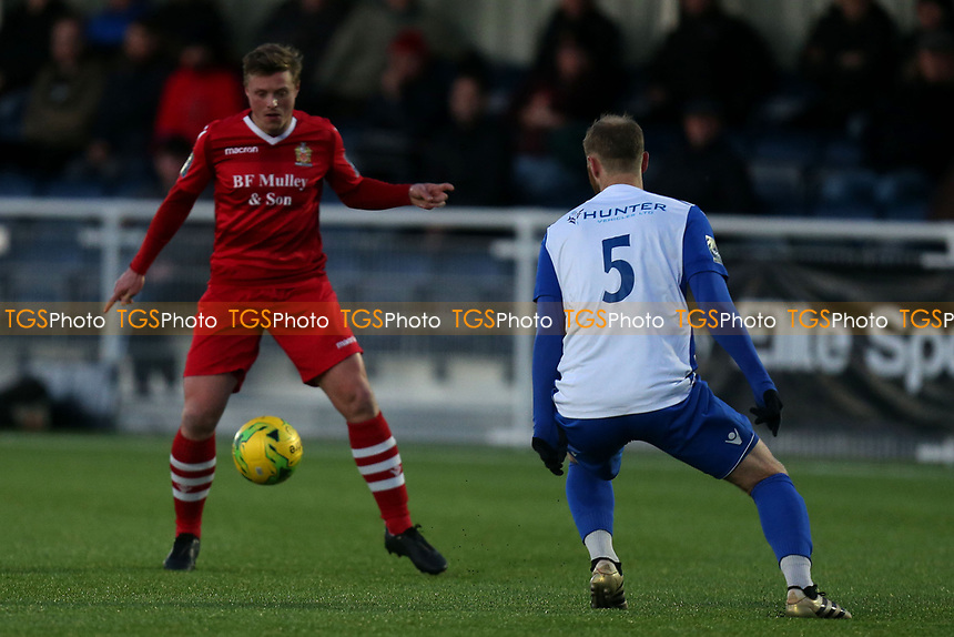 George Purcell of AFC Hornchurch and Sam Hatton of Enfield Town during AFC Hornchurch vs Enfield Town, Velocity Trophy Final Football at Parkside on 10th April 2019
