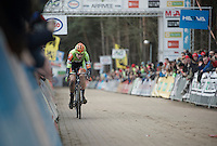 race leader Wout Van Aert (BEL/Crelan-Vastgoedservice) comfortably leading with 1 final lap remaining<br /> <br /> 2016 Belgian National CX Championships