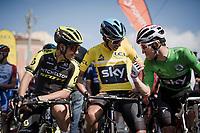 Esteban Chaves (COL/Mitchelton-Scott), Egan Bernal (COL/SKY) & Michał Kwiatkowski (POL/SKY) share a joke at the start<br /> <br /> Stage 8: Nice to Nice (110km)<br /> 77th Paris - Nice 2019 (2.UWT)<br /> <br /> ©kramon