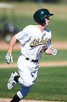 Oakland Athletics minor league outfielder Brett Vertigan #21 during an instructional league game against the San Francisco Giants at the Papago Park Baseball Complex on October 17, 2012 in Phoenix, Arizona. (Mike Janes/Four Seam Images)