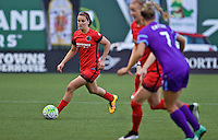 Portland, Oregon - Sunday April 17, 2016: Portland Thorns FC midfielder Lindsey Horan (7). The Portland Thorns play the Orlando Pride during a regular season NWSL match at Providence Park.