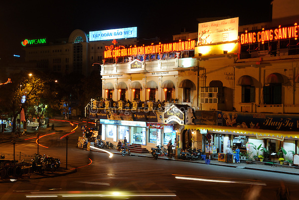 Asia, Vietnam, Hanoi. Hanoi old quarter. Night life on Luong Van Can St.at the northern end of Hoan Kiem Lake.