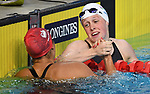 Hannah Miley (SCO, right) is congratulated by the winner, Aimee Willmott (ENG) ,after winning silver in the womens 400m Individual medley. Swimming finals. XXI Commonwealth games. Optus Aquatics Centre. Gold Coast 2018. Queensland. Australia. 05/04/2018. ~ MANDATORY CREDIT Garry Bowden/SIPPA - NO UNAUTHORISED USE - +44 7837 394578