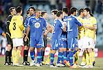 Getafe's and Espanyol's players salute after La Liga Match. February 18, 2012. (ALTERPHOTOS/Alvaro Hernandez)