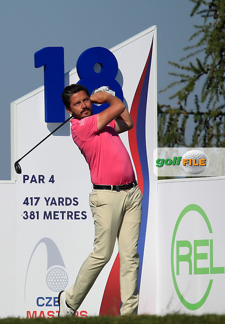 Mike Lorenzo-Vera (FRA) on the 18th tee during Round 2 of the D&amp;D Real Czech Masters 2016 at the Albatross Golf Club, Prague on Friday 19th August 2016.<br /> Picture:  Thos Caffrey / www.golffile.ie<br /> <br /> All photos usage must carry mandatory copyright credit   (&copy; Golffile | Thos Caffrey)
