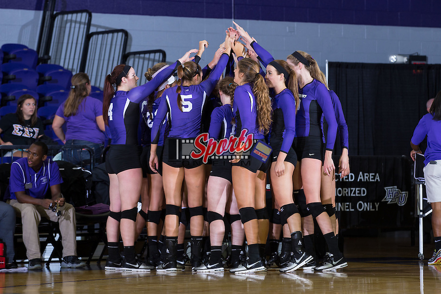 The High Point Panthers huddle up prior to their match against the UNC Greensboro Spartans at Millis Athletic Center on September 16, 2014 in High Point, North Carolina.  The Panthers defeated the Spartans 3-0.   (Brian Westerholt/Sports On Film)