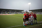 The home team pose for a photograph with mascots at the Paisley2021 Stadium before Scottish Championship side St Mirren played Welsh champions The New Saints in the semi-final of the Scottish Challenge Cup for the right to meet Dundee United in the final. The competition was expanded for the 2016-17 season to include four clubs from Wales and Northern Ireland as well as Scottish Premier under-20 teams. Despite trailing at half-time, St Mirren won the match 4-1 watched by a crowd of 2044, including 75 away fans.