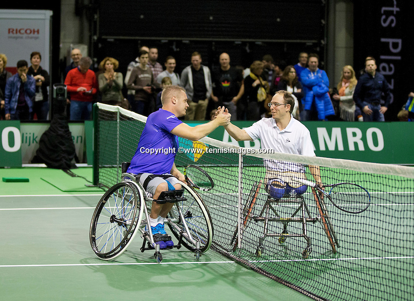 Februari 11, 2015, Netherlands, Rotterdam, Ahoy, ABN AMRO World Tennis Tournament, Maikel Scheffers (NED) - Frederic Cattaneo (FRA)<br /> Photo: Tennisimages/Henk Koster