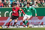 13.04.2019, Weserstadion, Bremen, GER, 1.FBL, Werder Bremen vs SC Freiburg<br /> <br /> DFL REGULATIONS PROHIBIT ANY USE OF PHOTOGRAPHS AS IMAGE SEQUENCES AND/OR QUASI-VIDEO.<br /> <br /> im Bild / picture shows<br /> Christian G&uuml;nter / Guenter (SC Freiburg #30) im Duell / im Zweikampf mit Yuya Osako (Werder Bremen #08), <br /> <br /> Foto &copy; nordphoto / Ewert