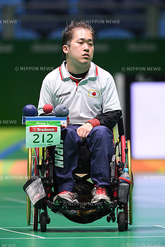 Takayuki Hirose (JPN), <br /> SEPTEMBER 15, 2016 - Boccia : <br /> Individual BC2 Quarter final match between Watcharaphon Vongsa 6-1 Takayuki Hirose <br /> at Carioca Arena 2<br /> during the Rio 2016 Paralympic Games in Rio de Janeiro, Brazil.<br /> (Photo by AFLO SPORT)