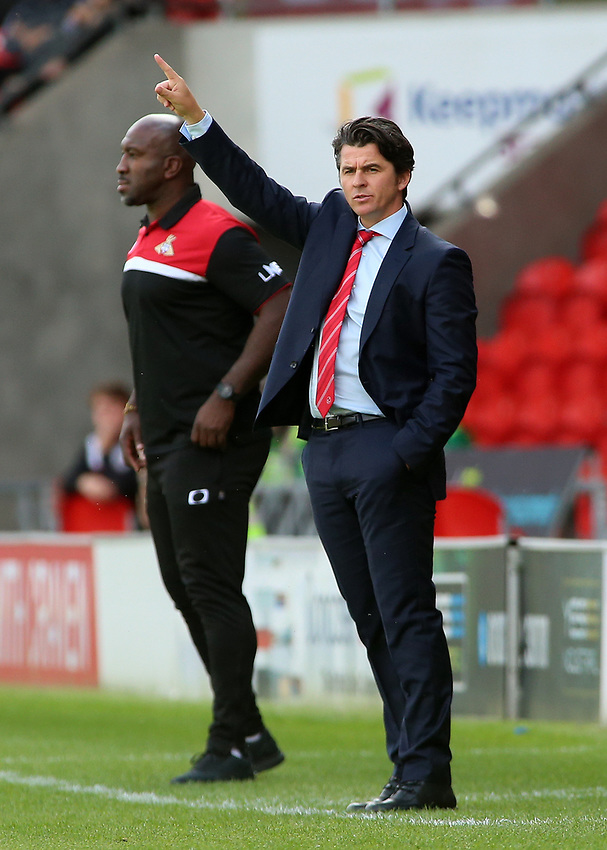 Fleetwood Town manager Joey Barton  shouts instructions to his team<br /> <br /> Photographer David Shipman/CameraSport<br /> <br /> The EFL Sky Bet League One - Doncaster Rovers v Fleetwood Town - Saturday 17th August 2019  - Keepmoat Stadium - Doncaster<br /> <br /> World Copyright © 2019 CameraSport. All rights reserved. 43 Linden Ave. Countesthorpe. Leicester. England. LE8 5PG - Tel: +44 (0) 116 277 4147 - admin@camerasport.com - www.camerasport.com