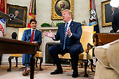 US President Donald J. Trump (R) meets with Canadian Prime Minister Justin Trudeau (L) in the Oval Office of the White House in Washington, DC, USA, 20 June 2019. The president spoke to the media about Iran shooting down an American drone, saying it might not have been intentional.<br /> Credit: Jim LoScalzo / Pool via CNP