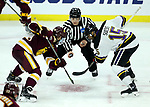 SIOUX FALLS, SD - MARCH 23: Peter Krieger #25 from Minnesota Duluth prepares to face off with C.J. Franklin #15 from Mankato during their game at the 2018 West Region Men's NCAA DI Hockey Tournament at the Denny Sanford Premier Center in Sioux Falls, SD. (Photo by Dave Eggen/Inertia)