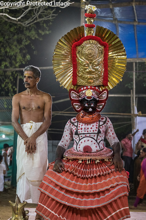 The Theyyam ritual in and around Kunnar in Kerala, India is an elaborate and complex attempt for celebrants, all male and all from lower castes, to become the deities they impersonate. It can only be seen in areas of northern Kerala.