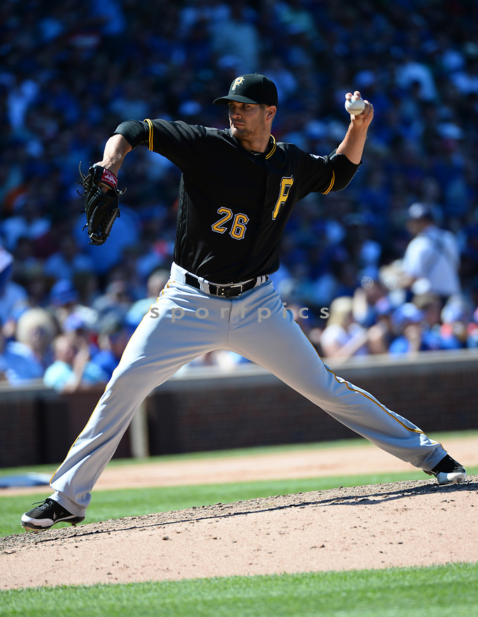 Pittsburgh Pirates Cory Leubke (26) during a game against the Chicago Cubs on June 17, 2016 at Wrigley Field in Chicago, IL. The Cubs beat the Pirates 6-0.