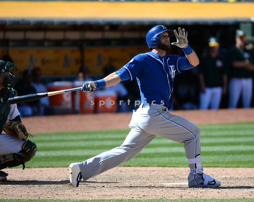 Kansas City Royals Alex Gordon (4) during a game against the Oakland A's on April 17, 2016 at Oakland Coliseum in Oakland, CA. The A's beat the Royals 3-2.