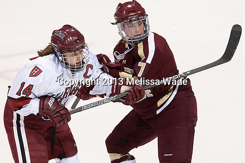 Jillian Dempsey (Harvard - 14), Dru Burns (BC - 7) - The Boston College Eagles defeated the Harvard University Crimson 2-1 in the 2013 Beanpot opening round on Tuesday, February 5, 2013, at Matthews Arena in Boston, Massachusetts.