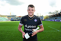 Man of the Match Zach Mercer of Bath Rugby poses for a photo after the match. European Rugby Challenge Cup Quarter Final, between Bath Rugby and CA Brive on April 1, 2017 at the Recreation Ground in Bath, England. Photo by: Patrick Khachfe / Onside Images