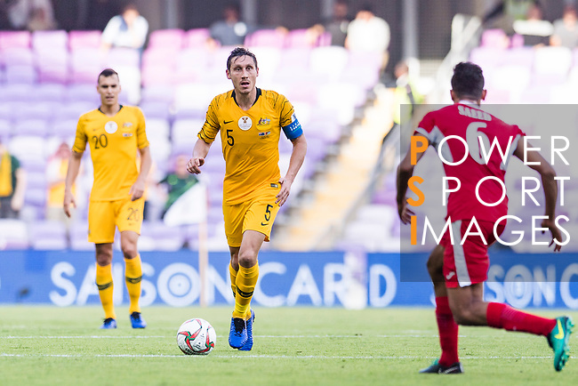 Mark Milligan of Australia (C) in action during the AFC Asian Cup UAE 2019 Group B match between Australia (AUS) and Jordan (JOR) at Hazza Bin Zayed Stadium on 06 January 2019 in Al Ain, United Arab Emirates. Photo by Marcio Rodrigo Machado / Power Sport Images