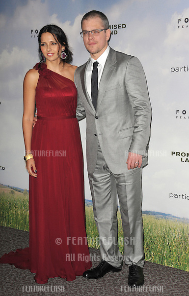 "Matt Damon & wife Luciana Barroso at the Los Angeles premiere of his new movie ""Promised Land"" at the Directors Guild Theatre..December 6, 2012  Los Angeles, CA.Picture: Paul Smith / Featureflash"