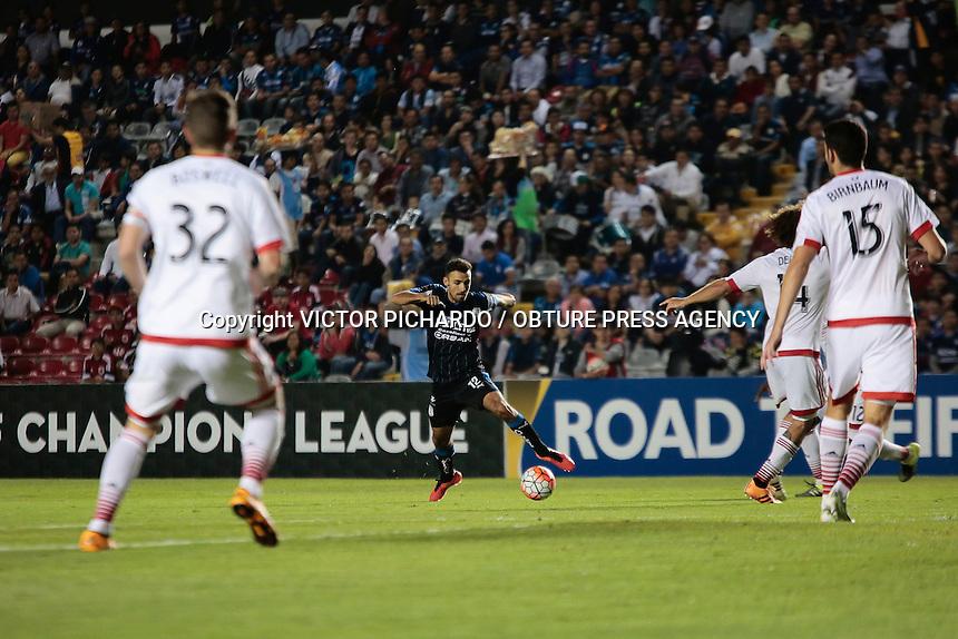 Quer&eacute;taro, Qro. 23 de Febrero 2016.- Partido de futbol disputado entre la escuadra de Gallos Blancos de Quer&eacute;taro y el equipo DC United correspondiente  a los cuartos de final de la CONCACAF Liga de Campeones, disputado en el estadio La Corregidora de Quer&eacute;taro. El Marcador final fue: QUER&Eacute;TARO 2-0 DC UNITED / GOLES DE YERSON CANDELO Y EDGAR EL PAJARO BEN&Iacute;TEZ<br /> <br /> Foto: Victor Pichardo / Obture Press Agency