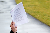 United States President Donald J. Trump speaks to members of the media on the South Lawn of the White House in Washington D.C., U.S., on Friday, February 7, 2020 as he departs for a day trip to deliver remarks at the North Carolina Opportunity Now Summit in Charlotte, North Carolina.<br /> <br /> Credit: Stefani Reynolds / CNP/AdMedia