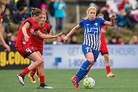 Allston, MA - Sunday, May 1, 2016:  Portland Thorns FC defender Emily Menges (4), Portland Thorns FC midfielder Lindsey Horan (7) and Boston Breakers midfielder McCall Zerboni (77)in a match at Jordan Field, Harvard University.