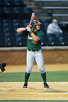 David Thompson (8) of the Miami Hurricanes at bat against the Wake Forest Demon Deacons at Wake Forest Baseball Park on March 20, 2015 in Winston-Salem, North Carolina.  The Hurricanes defeated the Demon Deacons 15-2.  (Brian Westerholt/Four Seam Images)