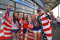 DECINES-CHARPIEU, FRANCE - JULY 02: USA Fans at Groupama Stadium prior to a 2019 FIFA Women's World Cup France Semi-Final match between England and the United States at Groupama Stadium on July 02, 2019 in Decines-Charpieu, France.