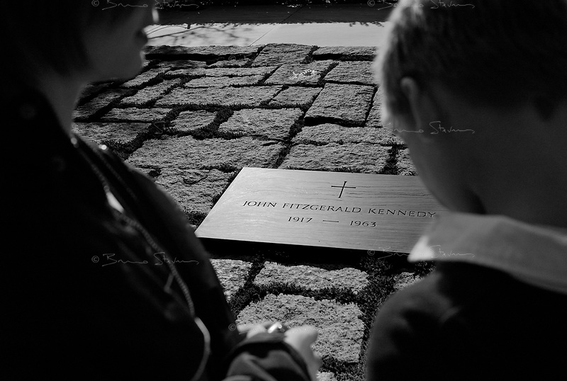 Washington DC, USA, October 23, 2008.Arlington Cemetery, in the heart of Washington, where more than 300000 US soldiers, officers or politicians are buried..John Fiztgerald Kennedy's tomb.