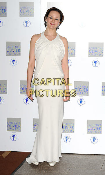 RACHEL STIRLING.The Laurence Olivier Awards 2010, Grosvenor House Hotel, London, England. .21st March 2010 .full length white dress maxi sleeveless Rachael.CAP/BEL.©Tom Belcher/Capital Pictures.
