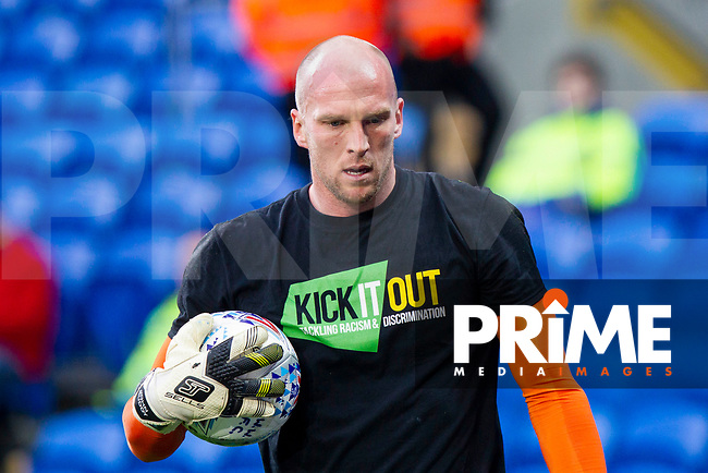Wolves goalkeeper John Ruddy warms up ahead of the Sky Bet Championship match between Cardiff City and Wolverhampton Wanderers at the Cardiff City Stadium, Cardiff, Wales on 6 April 2018. Photo by Mark  Hawkins / PRiME Media Images.