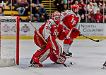 29 December 2018: Rensselaer Engineer Goaltender Owen Savory, a Freshman from Cambridge, ON, in second period action against the University of Vermont Catamounts at Gutterson Fieldhouse in Burlington, Vermont. The Catamounts rallied from a 2-0 deficit to defeat RPI 4-2 and win the annual Catamount Cup Tournament. Mandatory Credit: Ed Wolfstein Photo *** RAW (NEF) Image File Available ***