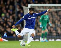 29th October 2019; Goodison Park, Liverpool, Merseyside, England; English Football League Cup, Carabao Cup Football, Everton versus Watford; Andre Gomes of Everton plays a long pass from midfield  - Strictly Editorial Use Only. No use with unauthorized audio, video, data, fixture lists, club/league logos or 'live' services. Online in-match use limited to 120 images, no video emulation. No use in betting, games or single club/league/player publications