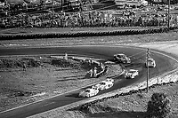 A pack of cars races through the hairpin, aerial view from the Goodyear Blimp, 12 Hours of Sebring, IMSA Camel GT race, Sebring International Raceway, Sebring, Florida, March 24, 1984.  (Photo by Brian Cleary/www.bcpix.com)