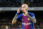 Aleix Vidal of FC Barcelona gestures during the La Liga 2017-18 match between FC Barcelona and Deportivo La Coruna at Camp Nou Stadium on 17 December 2017 in Barcelona, Spain. Photo by Vicens Gimenez / Power Sport Images