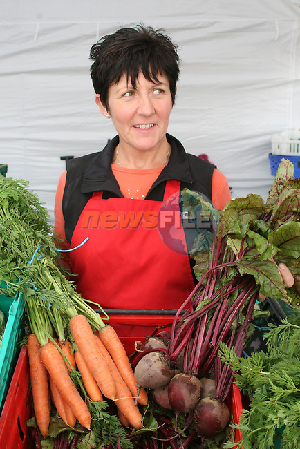 Sheila Smith , Dublin Meath Growers at the Food Market, Waterside, Scotch Hall...Photo NEWSFILE/Jenny Matthews.(Photo credit should read Jenny Matthews/NEWSFILE)....This Picture has been sent you under the condtions enclosed by:.Newsfile Ltd..The Studio,.Millmount Abbey,.Drogheda,.Co Meath..Ireland..Tel: +353(0)41-9871240.Fax: +353(0)41-9871260.GSM: +353(0)86-2500958.email: pictures@newsfile.ie.www.newsfile.ie.FTP: 193.120.102.198.