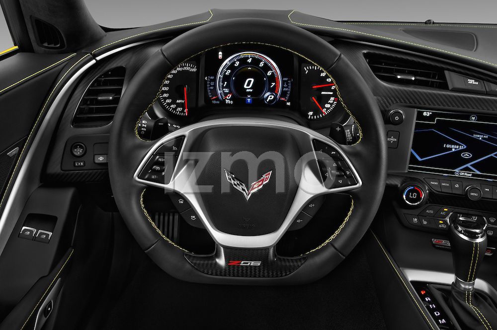 Car pictures of steering wheel view of a 2016 Chevrolet Corvette Z06-Coupe-1LZ 3 Door Targa Steering Wheel