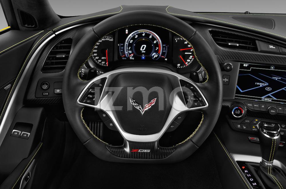 Car pictures of steering wheel view of a 2018 Chevrolet Corvette Z06-Coupe-1LZ 3 Door Targa Steering Wheel
