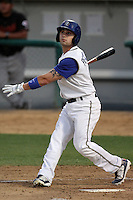 Rancho Cucamonga Quakes second baseman Jaime Pedroza #6 bats against the Bakersfield Blaze at the Epicenter on August 24, 2011 in Rancho Cucamonga,California. Rancho Cucamonga defeated Bakersfield 12-10.(Larry Goren/Four Seam Images)