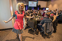 NWA Democrat-Gazette/J.T. WAMPLER Drag performer Ella DeMarco works the room at the Fayetteville Drag Brunch Sunday April 14, 2019 hosted by Northwest Arkansas Equality, Inc. at the Fayetteville Town Center. All proceeds from the event benefit the operations of Northwest Arkansas Equality, Inc. The next Fayetteville Drag Brunch is on June 9 at the Fayetteville Town Center. For more information visit https://nwaequality.org/