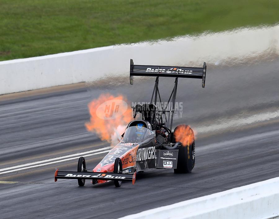 May 21, 2018; Topeka, KS, USA; NHRA top fuel driver Clay Millican during the Heartland Nationals at Heartland Motorsports Park. Mandatory Credit: Mark J. Rebilas-USA TODAY Sports