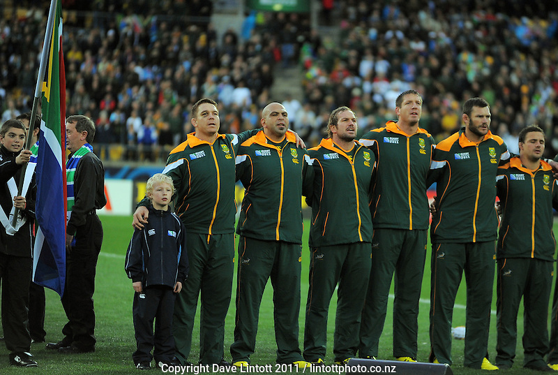 The Springboks line up for the national anthem befoe the South Africa versus Fiji pool D match of the 2011 IRB Rugby World Cup at Wellington Regional Stadium, Wellington, New Zealand on Saturday, 17 September 2011. Photo: Dave Lintott / lintottphoto.co.nz