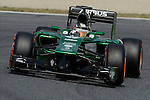 Caterham's driver Marcus Ericsson drives drives during a classification session at the Circuit de Catalunya on May 10, 2014. <br /> PHOTOCALL3000/PD