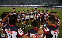 DURBAN, SOUTH AFRICA - APRIL 22: The Rebels huddle during the Super Rugby match between Cell C Sharks and Rebels at Growthpoint Kings Park on April 22, 2017 in Durban, South Africa. Photo: Steve Haag / stevehaagsports.com