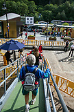 ALASKA, Juneau, passengers deboard the Holland America Cruise Ship, the Oosterdam, after arriving into port in Juneau